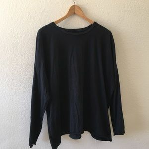 Eileen Fisher black organic cotton long sleeve tee